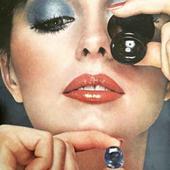 Seventies eyeshadow image of woman holding a crystal