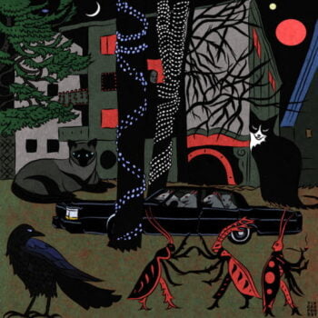Surreal art with crescent Moon, cats, a raven and insects.