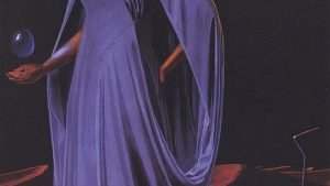 Science Fiction High Priestess in purple robes. She stands in front of Pluto, holding a crystal egg.
