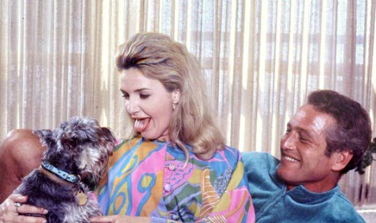 Soulmates Joanne Woodward and Paul Newman loved up in Sixties fashion with their dog