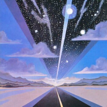 Omni sci fi art. Highway with galaxies visible above it.