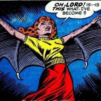 vintage romance comic character with bat wings like Lilith