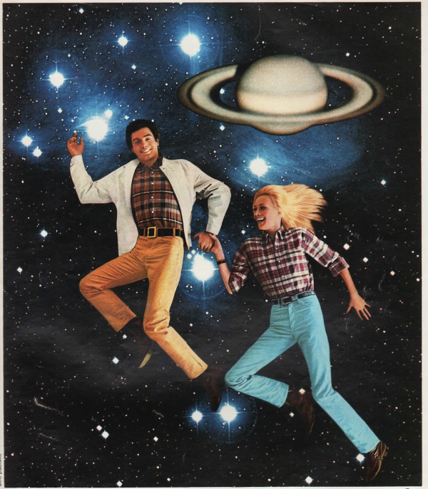 Vintage Jeans ad with planet Saturn in background