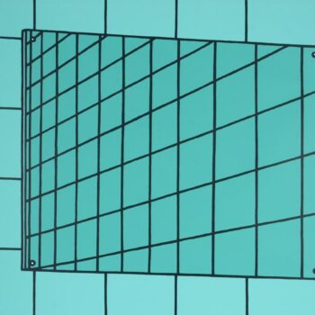 Art with aquamarine colored glass buildings