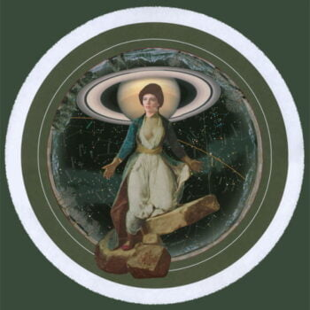 woman standing on stones with planet Saturn in background