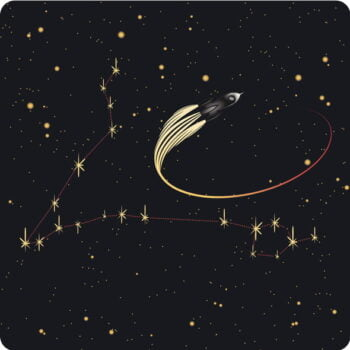 Vintage Pisces constellation with rocket ship reflecting the sparkle of Pisceans